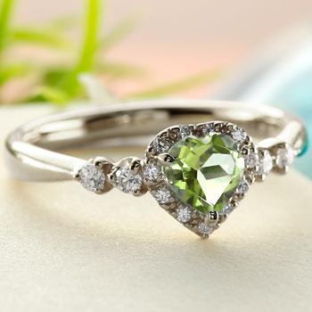 ハート リング ペリドット ダイヤモンド 指輪 ホワイトゴールドk18 取り巻き ダイヤ 18金 ストレート 宝石