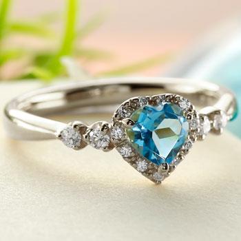 ハート リング ブルートパーズ ダイヤモンド 指輪 ホワイトゴールドk18 取り巻き ダイヤ 18金 ストレート 宝石