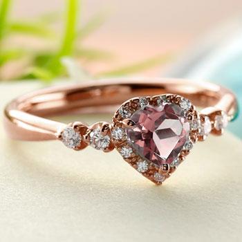 ハート リング ピンクトルマリン ダイヤモンド 指輪 ピンクゴールドk18 取り巻き ダイヤ 18金 ストレート 宝石