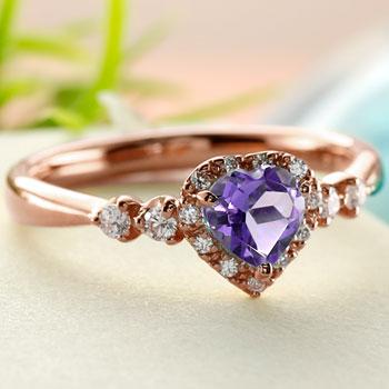 ハート リング アメジスト ダイヤモンド 指輪 ピンクゴールドk18 取り巻き ダイヤ 18金 ストレート 宝石
