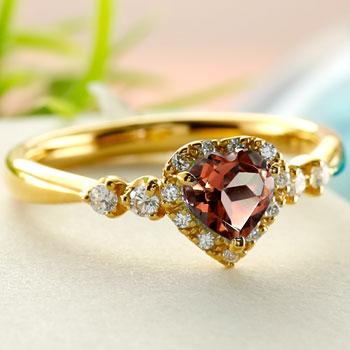 ハート リング ガーネット ダイヤモンド 指輪 イエローゴールドk18 取り巻き ダイヤ 18金 ストレート 宝石