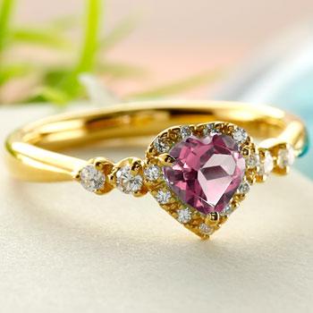ハート リング ピンクトルマリン ダイヤモンド 指輪 イエローゴールドk18 取り巻き ダイヤ 18金 ストレート 宝石