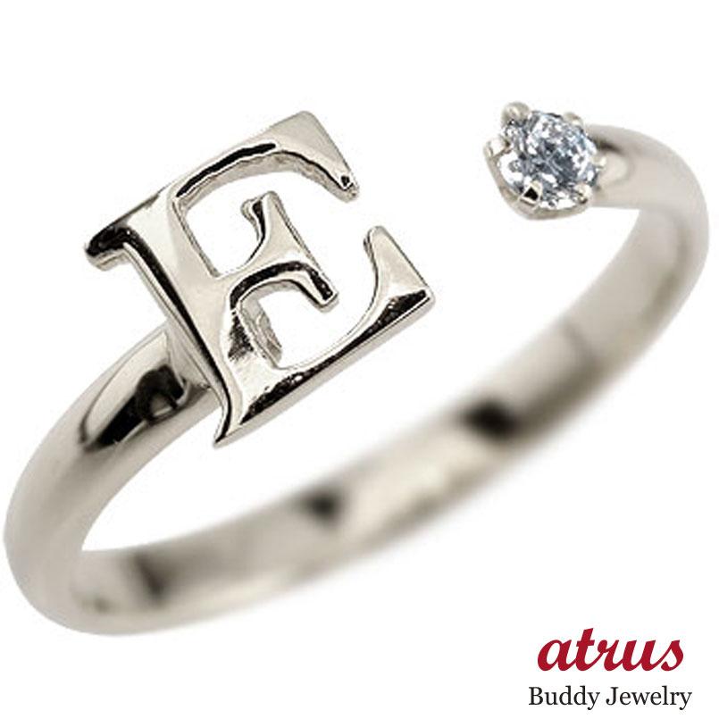 イニシャル プラチナ リング ダイヤモンド 指輪 アルファベット ピンキーリング 4月誕生石 ダイヤ ストレート 送料無料