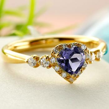 ハート リング アイオライト ダイヤモンド 指輪 イエローゴールドk18 取り巻き ダイヤ 18金 ストレート 宝石