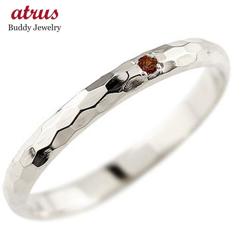 ピンキーリング ガーネット プラチナリング 指輪 一粒 1月誕生石 ストレート 2.3 宝石 送料無料