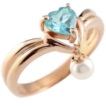 ピンキーリング ハート リング ブルートパーズ パール 指輪 ピンクゴールドk18 18金 真珠 フォーマル 送料無料