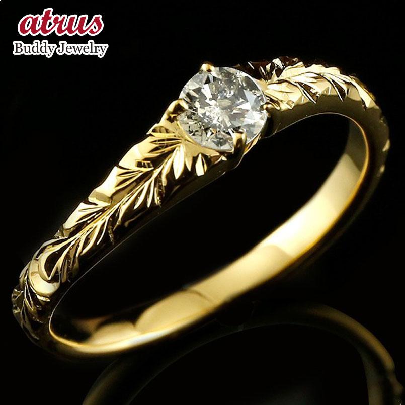 ピンキーリング ハワイアンジュエリー ブラウンダイヤモンド リング イエローゴールドk10 指輪 ハワイアンリング ダイヤ 一粒 大粒 10金 母の日