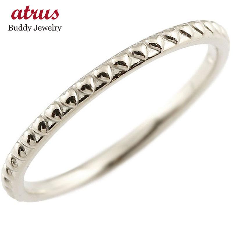 ピンキーリング ホワイトゴールドk18 ハート 極細 18金 華奢 アンティーク 指輪 送料無料