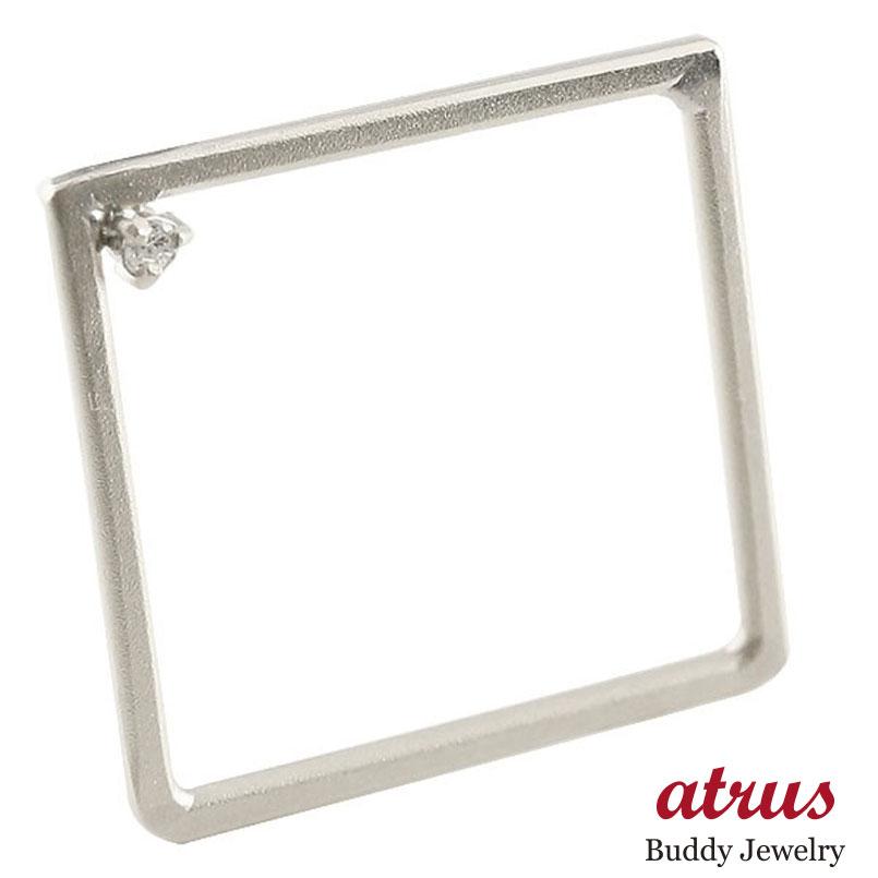 ピンキーリング プラチナ リング ダイヤモンド スクエア 指輪 四角 ホーニング 送料無料