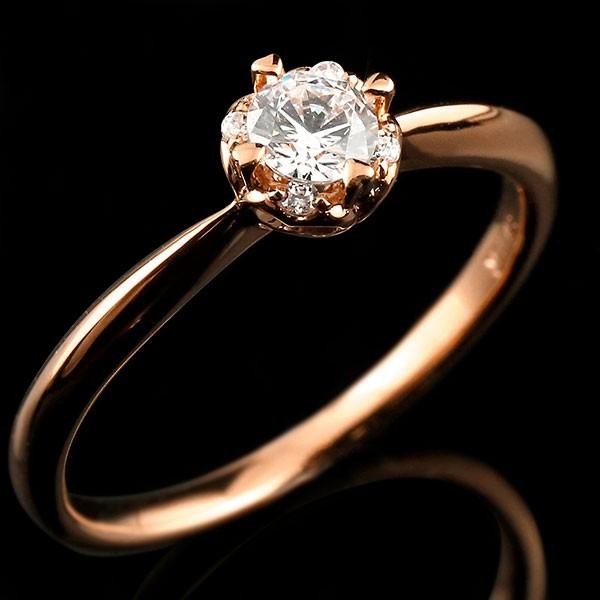 ピンクゴールド リング ダイヤモンド ハート 指輪 一粒 大粒 ダイヤ ピンクゴールドリング ダイヤモンドリング k18 18金
