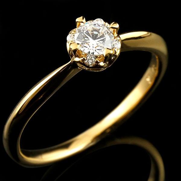 鑑定書付き VSクラス イエローゴールド リング ダイヤモンド ハート 指輪 一粒 大粒 ダイヤ イエローゴールドリング ダイヤモンドリング k18 18金