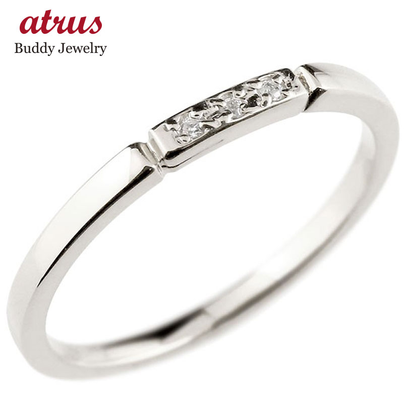 ピンキーリング プラチナ ダイヤモンド 結び エンゲージリング リング pt900 華奢 ストレート ダイヤ 指輪 送料無料