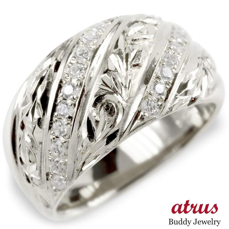 プラチナ リング ダイヤモンド ハワイアンジュエリー メンズ 指輪 pt900 ピンキーリング マイレ スクロール リング 幅広 男性 送料無料