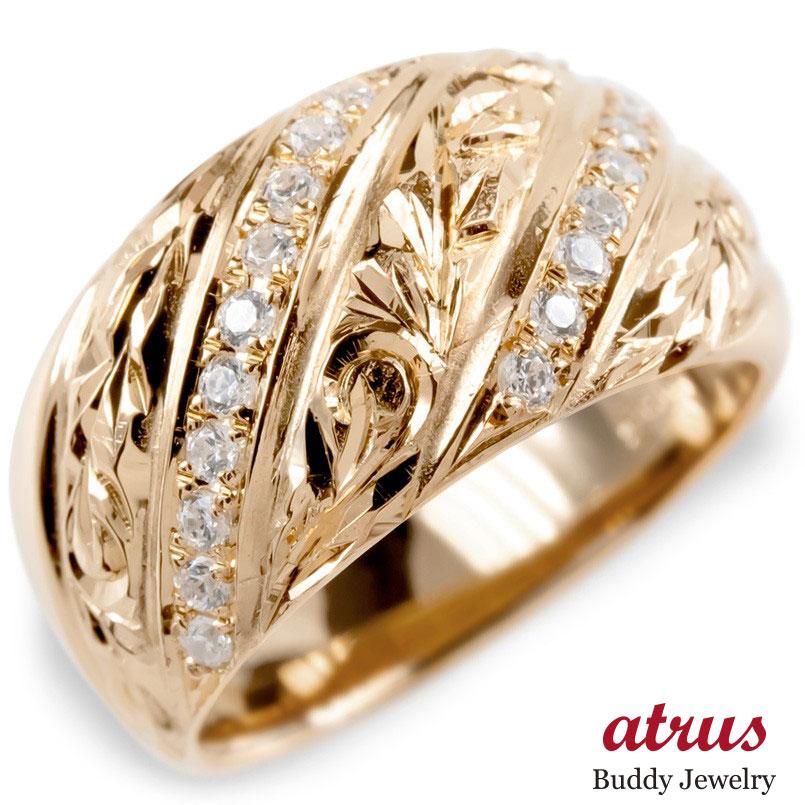 ゴールド リング ダイヤモンド ハワイアンジュエリー レディース 指輪 ピンクゴールドk10 婚約指輪 安い エンゲージリング ピンキーリング 幅広 送料無料