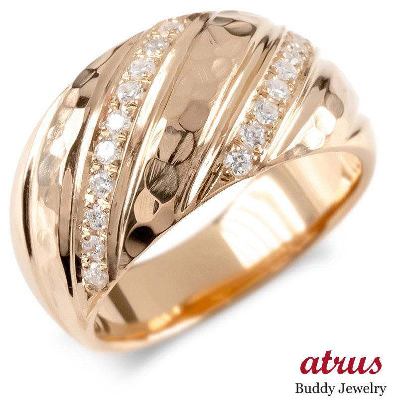 ゴールド リング ダイヤモンド レディース 指輪 ピンクゴールドk10 婚約指輪 安い エンゲージリング ピンキーリング 幅広 槌目 槌打ち ロック仕上げ 送料無料