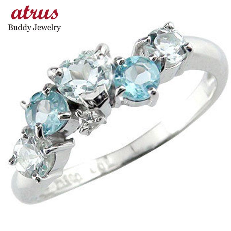 ピンキーリング アクアマリンリング ハートリング ダイヤモンド 指輪 ホワイトゴールドk10リング ダイヤ10金 ダイヤ 宝石 送料無料