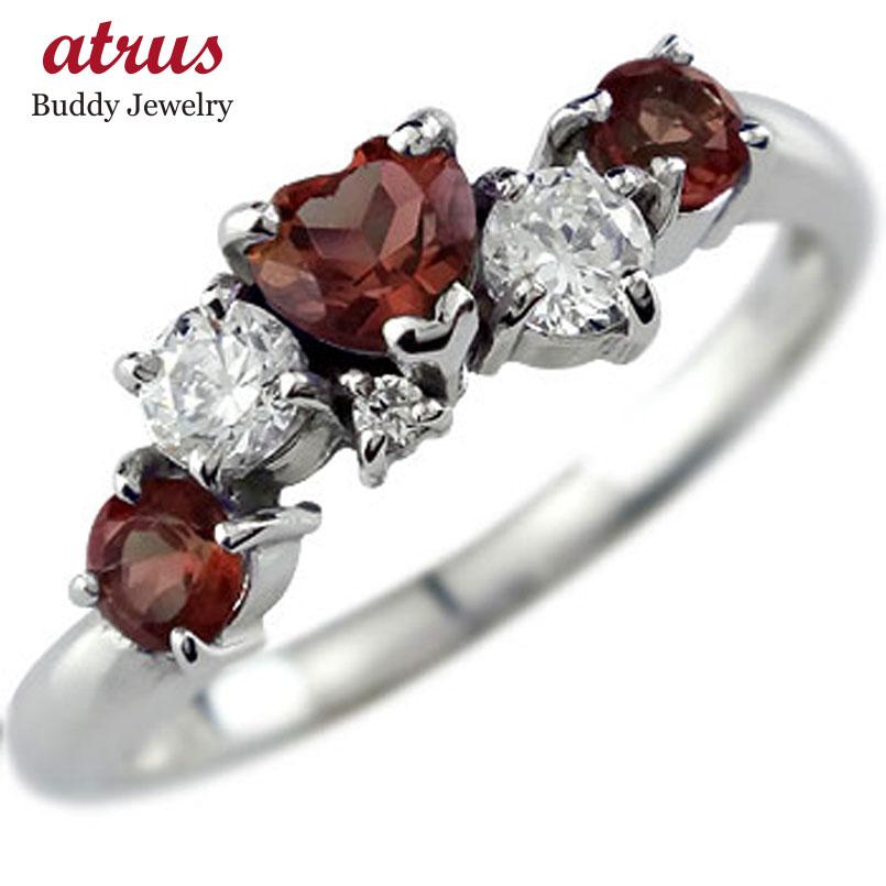 ピンキーリング ガーネットリングハートリングアクアマリンダイヤモンド ホワイトゴールドk18指輪 3月誕生石 18金 ダイヤ 宝石 送料無料