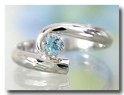 ピンキーリング アンティーク サンタマリアアクアマリン 指輪 プラチナリング 3月誕生石 ストレート 送料無料