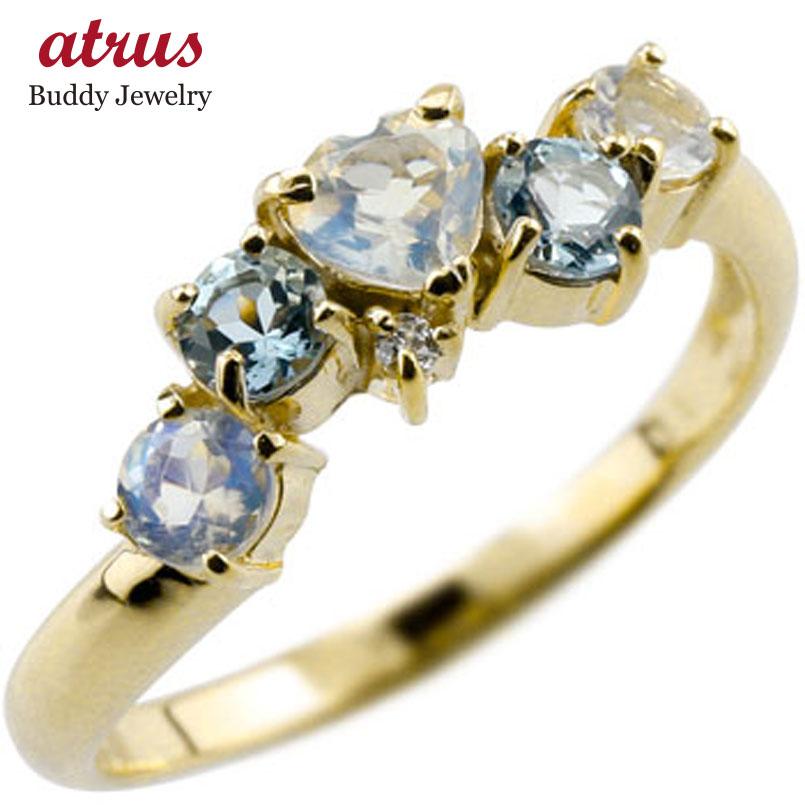 ピンキーリング ブルームーンストーンリングハートリングアクアマリンダイヤモンド k10指輪 ダイヤ10金 ダイヤ 宝石 送料無料