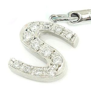 ダイヤモンド イニシャル S 携帯電話 ストラップ ホワイトゴールドK18 ダイヤモンド ダイヤ 18金 宝石 Xmas Christmas