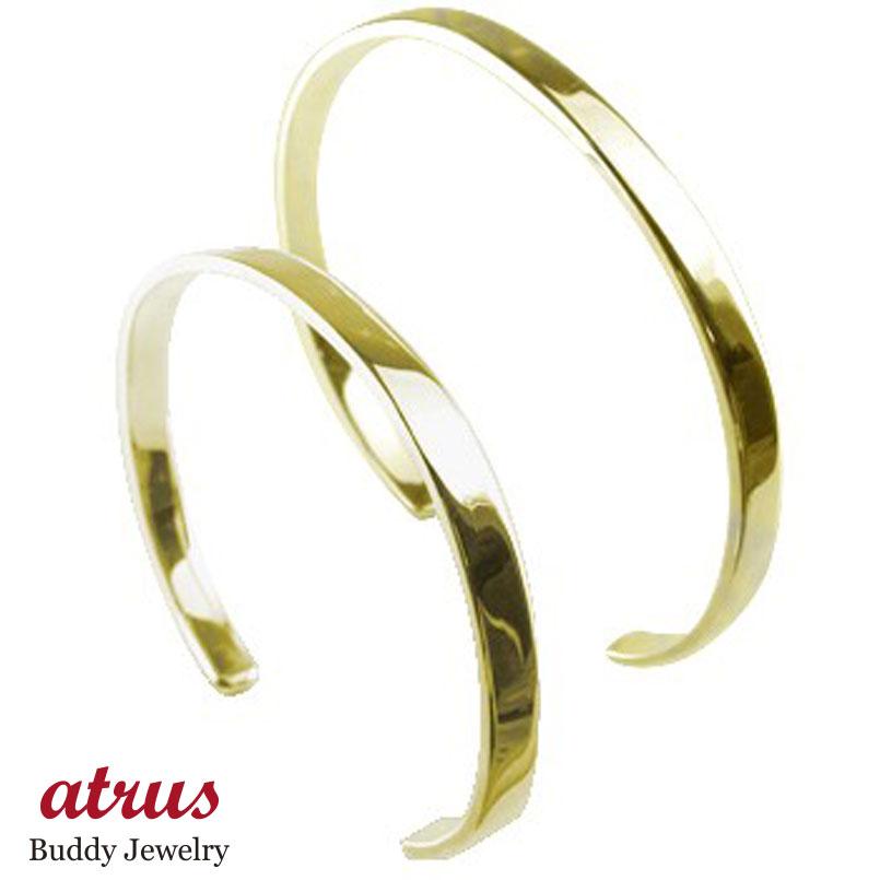 ペアバングル ブレスレット イエローゴールドk18 シンプルバングル メンズ 18金 カップル 贈り物 誕生日プレゼント ギフト ファッション エンゲージリングのお返し パートナー 送料無料