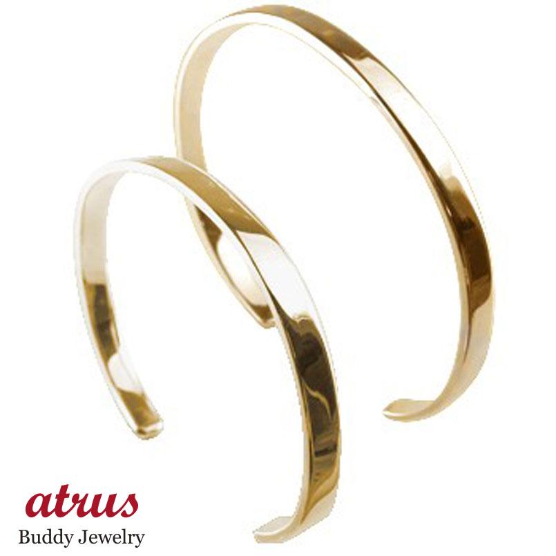 ペアバングル ブレスレット ピンクゴールドk18 シンプルバングル メンズ 18金 カップル 贈り物 誕生日プレゼント ギフト ファッション エンゲージリングのお返し パートナー 送料無料