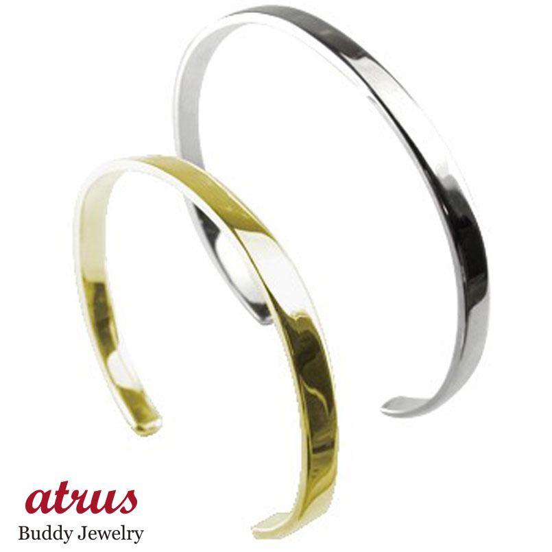 ペアバングル ブレスレット ホワイトゴールドK18 イエローゴールドk18 シンプルバングル メンズ 18金 カップル 贈り物 誕生日プレゼント ギフト ファッション エンゲージリングのお返し パートナー 送料無料