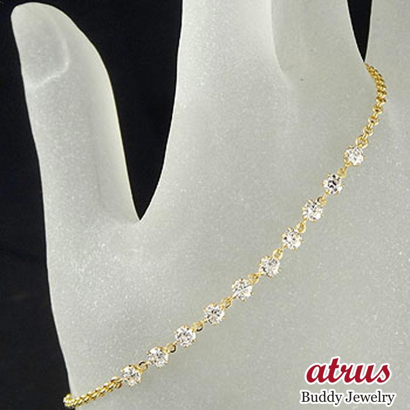 ダイヤモンド ブレスレット イエローゴールドk18 18金 チェーン ダイヤ 贈り物 誕生日プレゼント ギフト ファッション 妻 嫁 奥さん 女性 彼女 娘 母 祖母 パートナー 送料無料 母の日