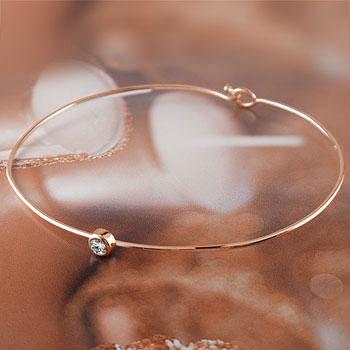 メンズ ダイヤモンド ブレスレット 一粒 ピンクゴールドk18 バングル 18金 4月誕生石ダイヤ 男性用 贈り物 誕生日プレゼント ギフト ファッション
