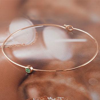 メンズ エメラルド ブレスレット 一粒 ピンクゴールドk18 バングル 18金 5月誕生石 男性用 贈り物 誕生日プレゼント ギフト ファッション
