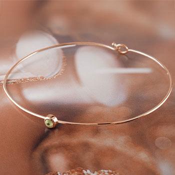 メンズ ペリドット ブレスレット 一粒 ピンクゴールドk18 バングル 18金 8月誕生石 男性用 贈り物 誕生日プレゼント ギフト ファッション