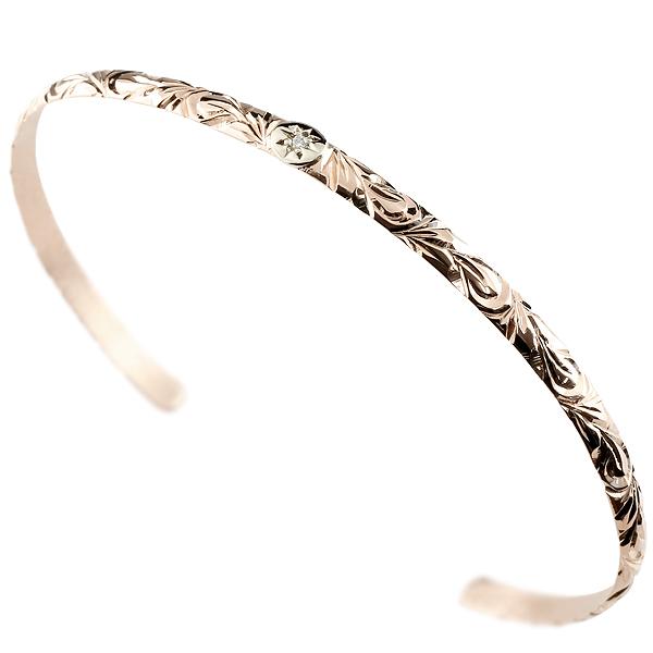 メンズ バングル ハワイアン ピンクゴールドk10 プラチナ900 ブレスレット ダイヤモンド バングル 10金 男性用 FF 贈り物 誕生日プレゼント ギフト エンゲージリングのお返し 父の日