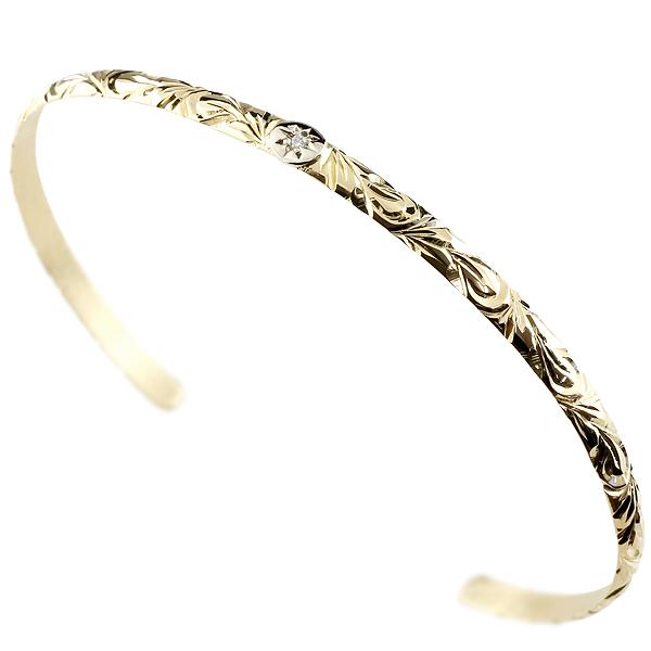 メンズ バングル ハワイアン イエローゴールドk18 プラチナ900 ブレスレット ダイヤモンド バングル 18金 男性用 FF 贈り物 誕生日プレゼント ギフト エンゲージリングのお返し 父の日