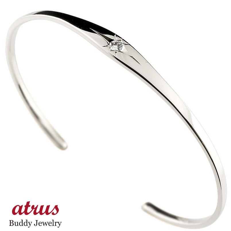 メンズ ダイヤモンド バングル ブレスレット 一粒 後光留め シルバー sv925 シンプル 4月誕生石 贈り物 誕生日プレゼント ギフト ファッション