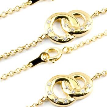 ブレスレット ダイヤモンド ゴールド ペアダイヤ イエローゴールドk18 18金 サークルデザイン パートナー 送料無料 母の日