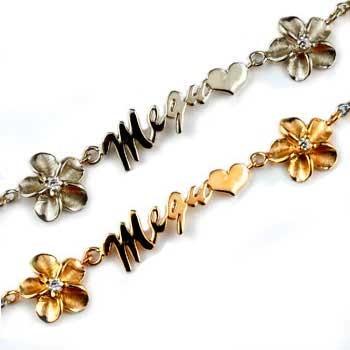 ペアブレスレット ダイヤモンド ゴールド ハワイアンジュエリー ネーム ダイヤ プルメリア プラチナ ピンクゴールドk18 ブレスレット 18金 パートナー 送料無料