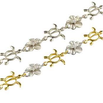 ペアブレスレット ハワイアンジュエリー プラチナ イエローゴールドk18 ダイヤモンド 亀 花 pt900 18金 ダイヤ コンビ パートナー 送料無料
