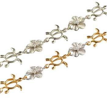 ペアブレスレット ハワイアンジュエリー プラチナ ピンクゴールドk18 ダイヤモンド 亀 花 pt900 18金 ダイヤ コンビ パートナー 送料無料