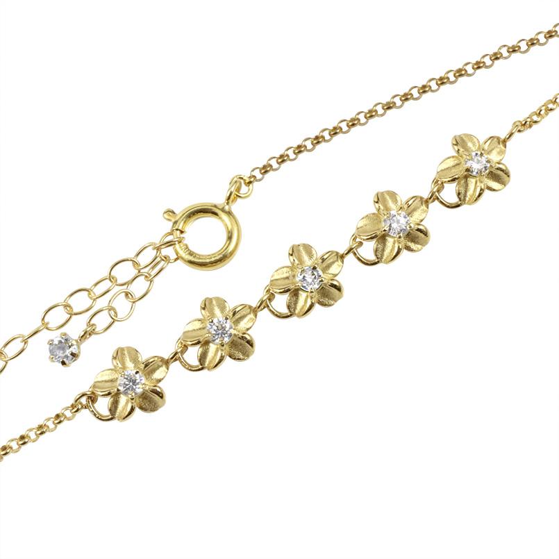 ハワイアンジュエリー ブレスレット ダイヤモンド イエローゴールドk10 プルメリア ブレス 10金 レディース アジャスターチェーン付き 送料無料 母の日