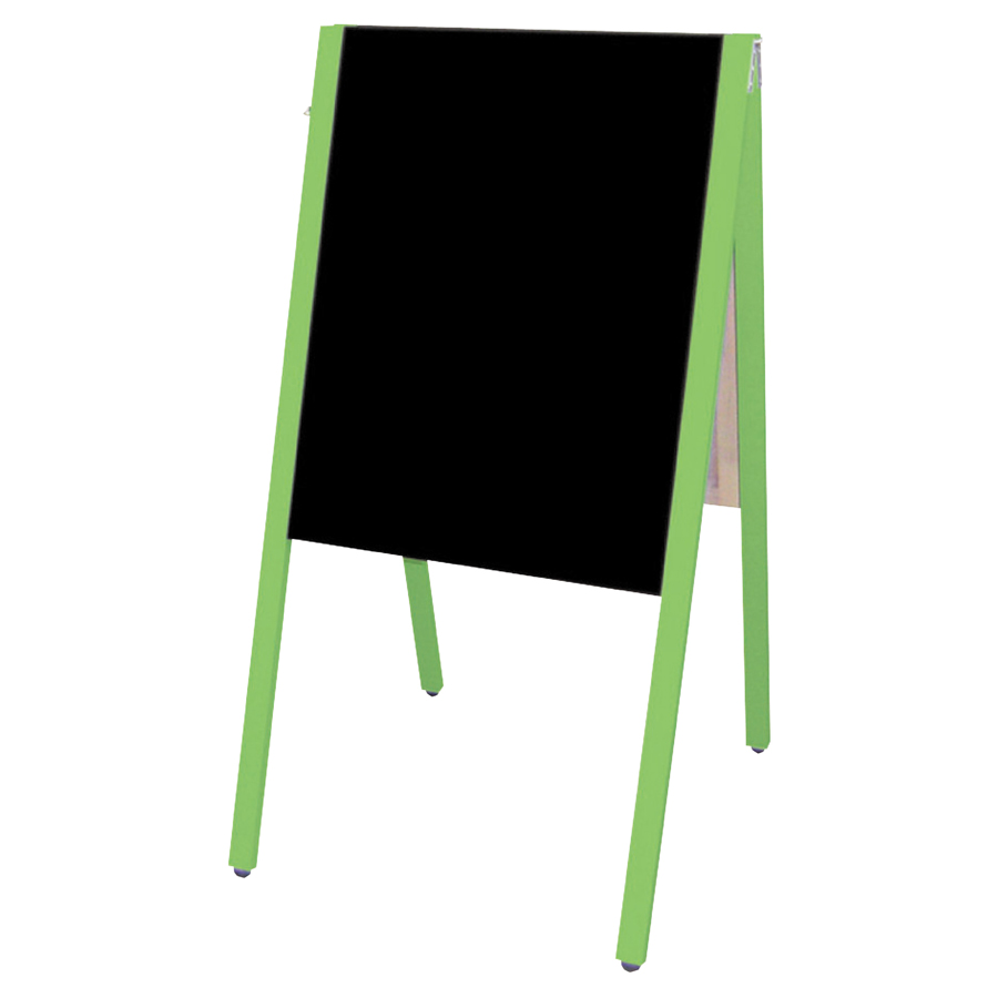 A型看板(大) SAI-C60G チョーク用 グリーン枠・黒板・木製・両面 サイロA型ブラックボード チョークタイプ