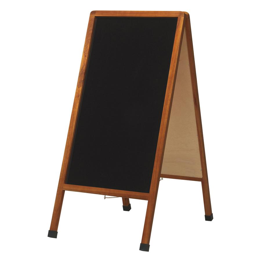 A型看板(大) ブラックボード LNB1000 木製 両面・マグネット使用可・ゴム足・開脚止クサリ付