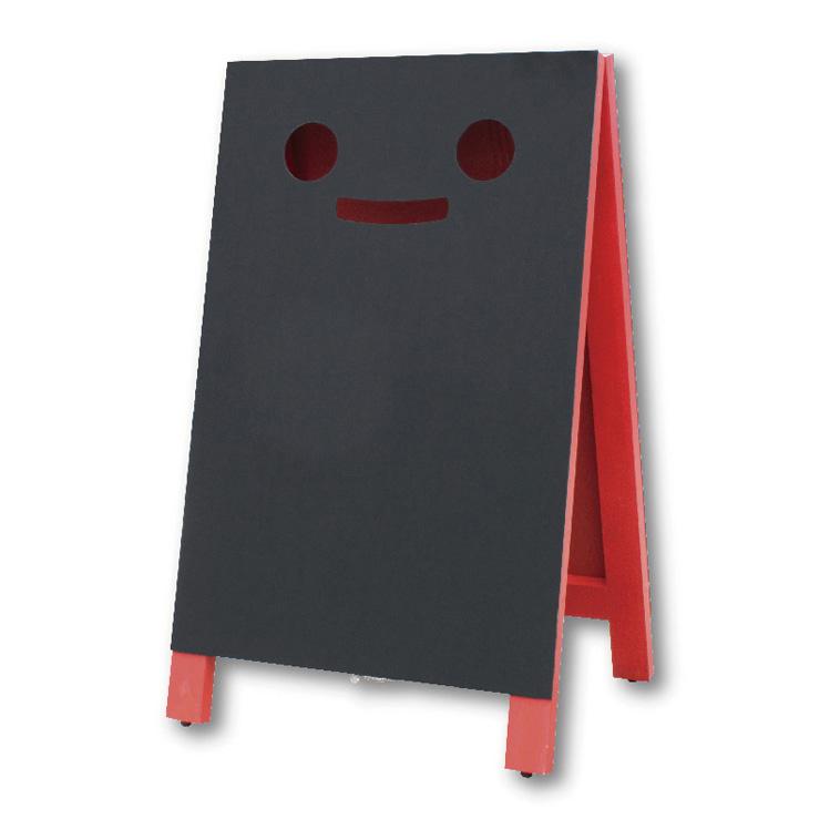 A型看板 (LL) ブラッキーさん 赤 チョークタイプ 9014469 木製 両面タイプ