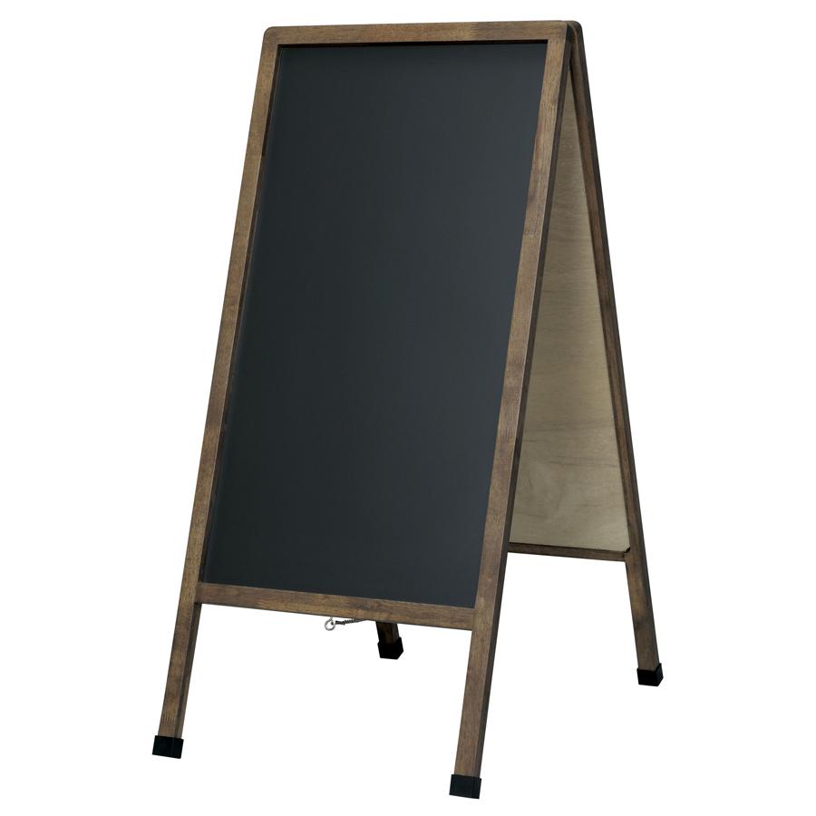 アンティークA型看板(大) LNB110 ブラックボード 木製 両面・マグネット使用可・ゴム足・開脚止クサリ付・マーカー付(チョーク使用可)