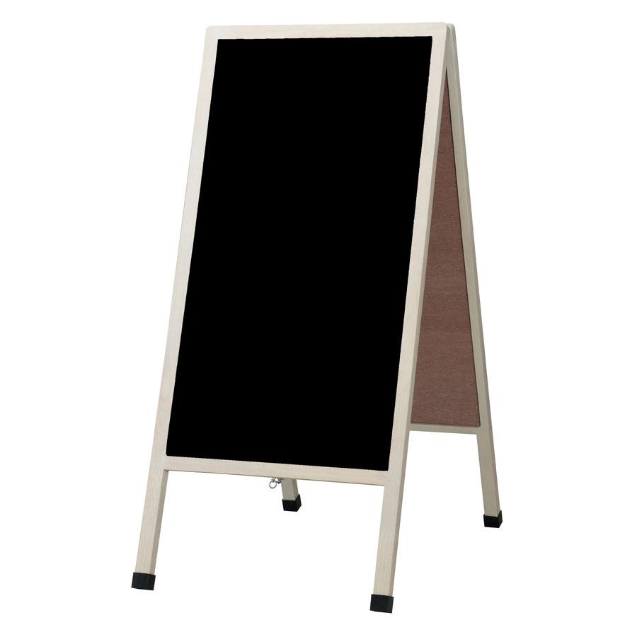 アンティークA型看板(大・ホワイト仕上げ) LNB118 マーカー・チョーク兼用 ブラックボード 木製 両面・マグネット使用可・ゴム足・開脚止クサリ付・マーカー付(チョーク使用可)