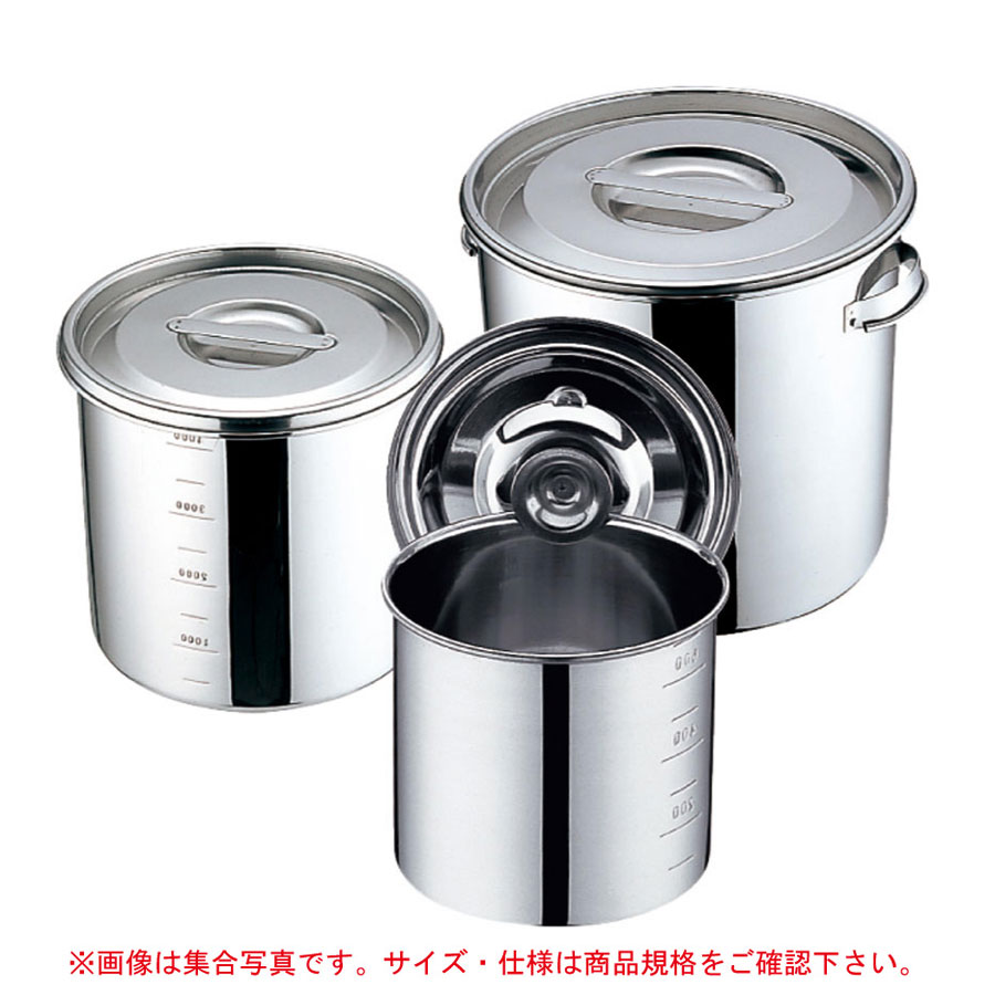 YUKIWA(三宝産業)18-8 丸・深型キッチンポット目盛付 30cm・手付 (φ300xH300mm) 21リットル 09671300