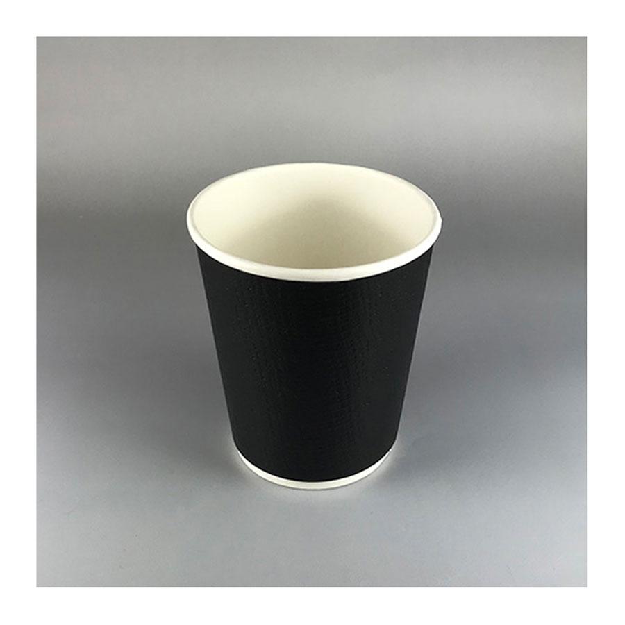 断熱エンボスBLACK二重カップ 240ml(8オンス) 1000個 BMT-050 二重紙コップ 黒マットブラック