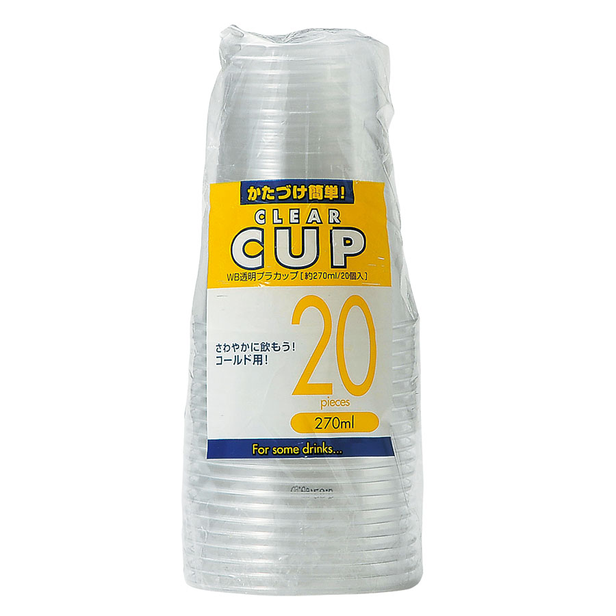 WB 透明プラカップ 270ml 1800個 WB-28 アートナップ(ART NAP)【テイクアウト紙カップ・業務用・使い捨て食品容器】