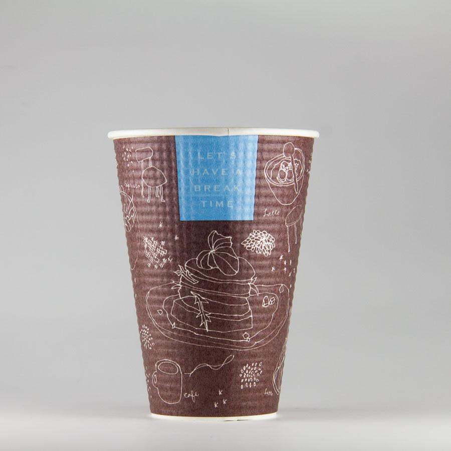 エンボス紙コップ 417ml(14.5オンス) 1000個 SMP-420E ブレイクタイム 【テイクアウト・イベント・業務用・お祭り・使い捨て食品容器・紙カップ】