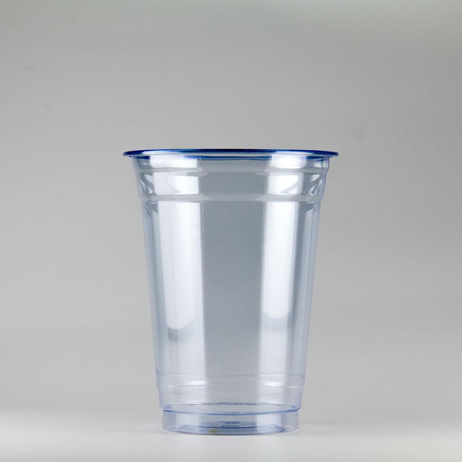 プラカップ青 420ml(14オンス) 89mm口径 1000個 (PET製) カラーカップ89-14オンス青【テイクアウト紙カップ・業務用・使い捨て食品容器】