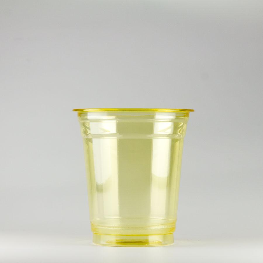 プラカップ黄 370ml(12オンス) 89mm口径 1000個 (PET製) カラーカップ89-12オンス黄【テイクアウト紙カップ・業務用・使い捨て食品容器】